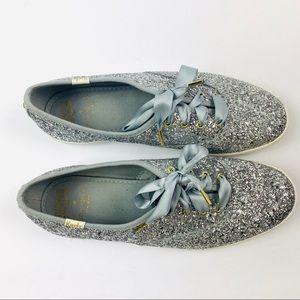 Kate Spade x Keds | Silver Sparkly Sneaker